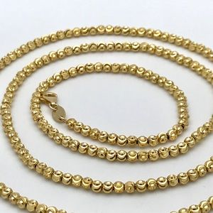 """14kt yellow gold 27"""" bead chain necklace"""